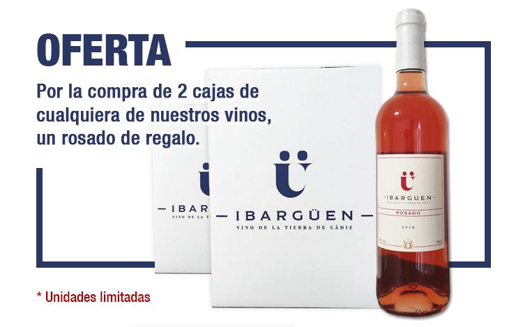 Oferta. Por la compra de 2 cajas de vino, una botella gratis de rosado